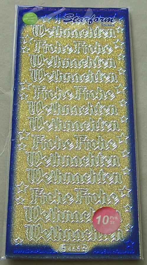 Frohe Weihnachten Glitzer.Stickerbogen 10 X 23 Cm Frohe Weihnachten Glitzer Gold